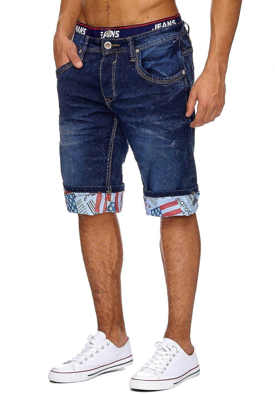 db804b19876e93 Bekleidung Jaylvis Herren Jeans Shorts Kurze Bermuda Hose Used Washed USA  H1864 Farben:Dunkelblau Größe Hosen:W38