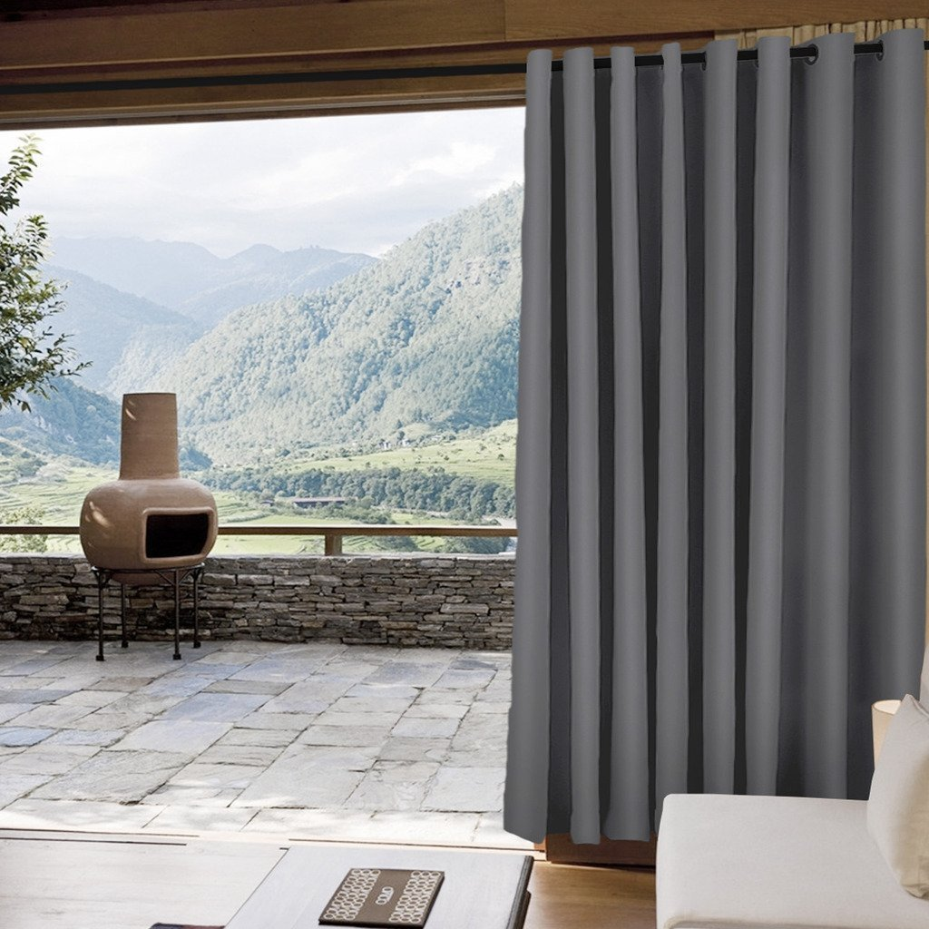 IYUEGO Outdoor Curtain Blackout Curtain Antique Coppor Grommet Eyelet Grey 150'' W x 102'' L for Front Porch, Pergola, Cabana, Covered Patio, Gazebo, Dock, and Beach Home (Set of 1 Panel).