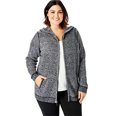 290be10a735 Roamans Women s Plus Size Thermal Hoodie Cardigan at Amazon Women s ...