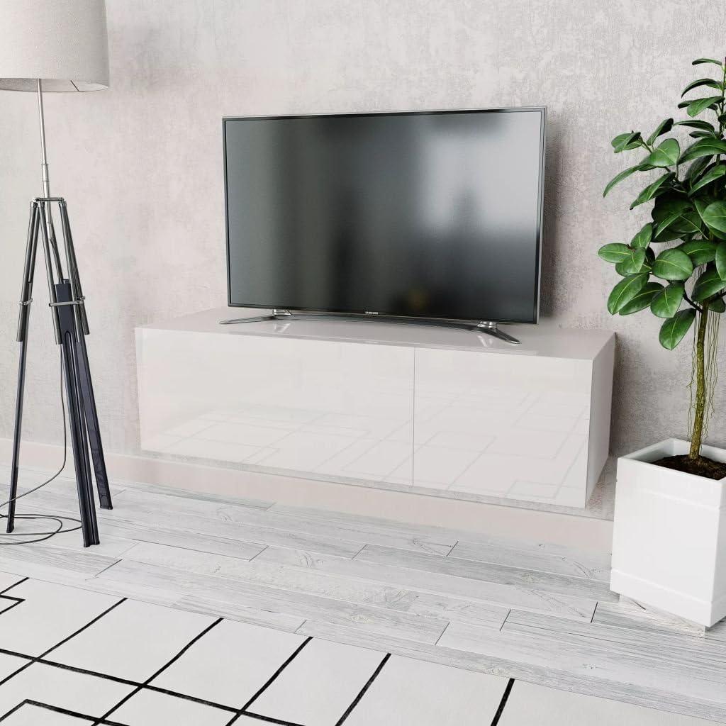 tidyard Mueble de TV con 2 Compartimentos de Aglomerado y PVC de Aspecto Elegante y Moderno 120x40x34cm Blanco Brillante: Amazon.es: Hogar
