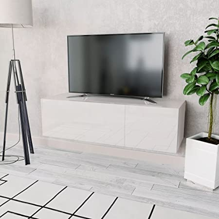 Festnight Meuble Tv Suspendu En Agglomere Design Moderne 120 X 40 X 34 Cm Blanc
