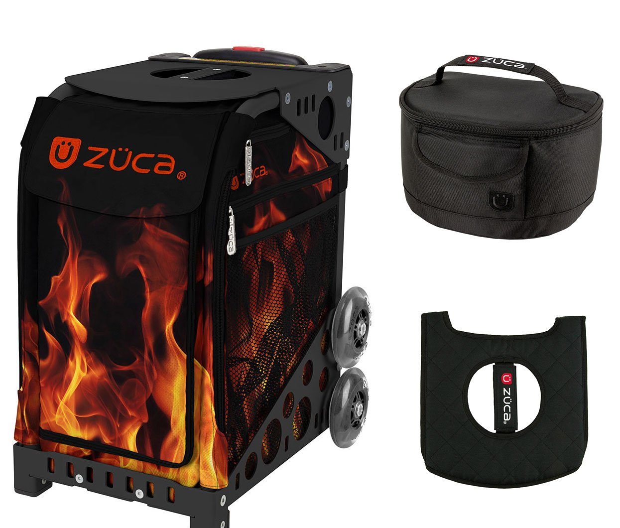 Zuca Sport Bag - Blaze with Gift Lunchbox and Seat Cover (Black Frame) by ZUCA