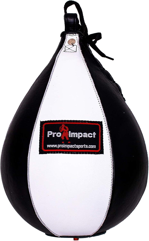 Pro Impact 本革 スピードバッグ ブラック - 高耐久 レザー ハンギング スイベル パンチボール ボクシング MMA ムエタイ フィットネス ファイティングスポーツ トレーニング用  白い 黒 Small