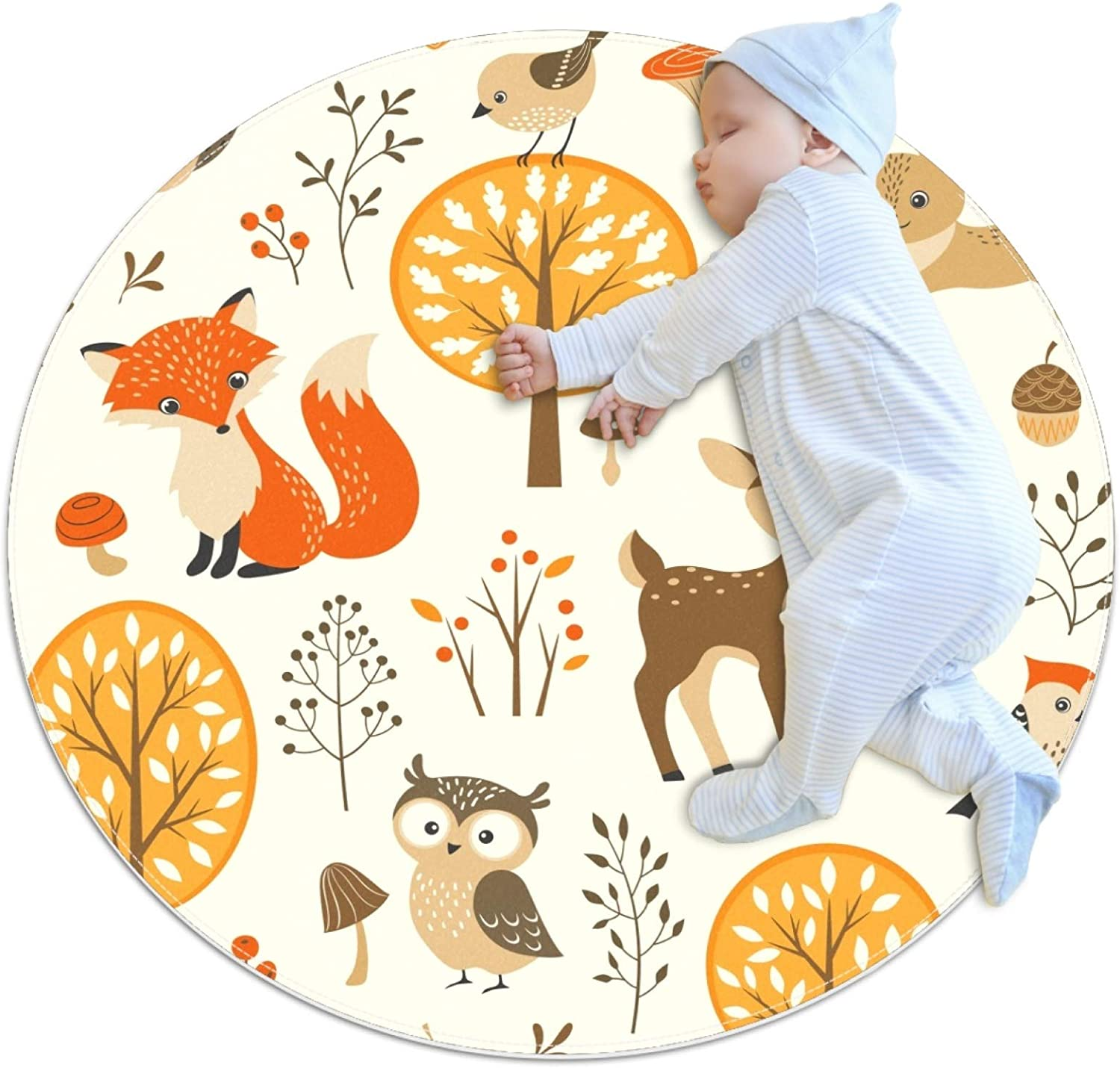Round Soft Area Rugs for Kids Girls Room Cartoon elk Fox Cute Circle Nursery Rug for Kids Baby Girls Bedroom Living Room Home Decor Small Circular Carpet 3 ft 4 in