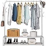 UDEAR The Shopfitting Shop Portant à vêtements sur pied avec barre supérieure, rangement inférieur et 6 crochets Blanc