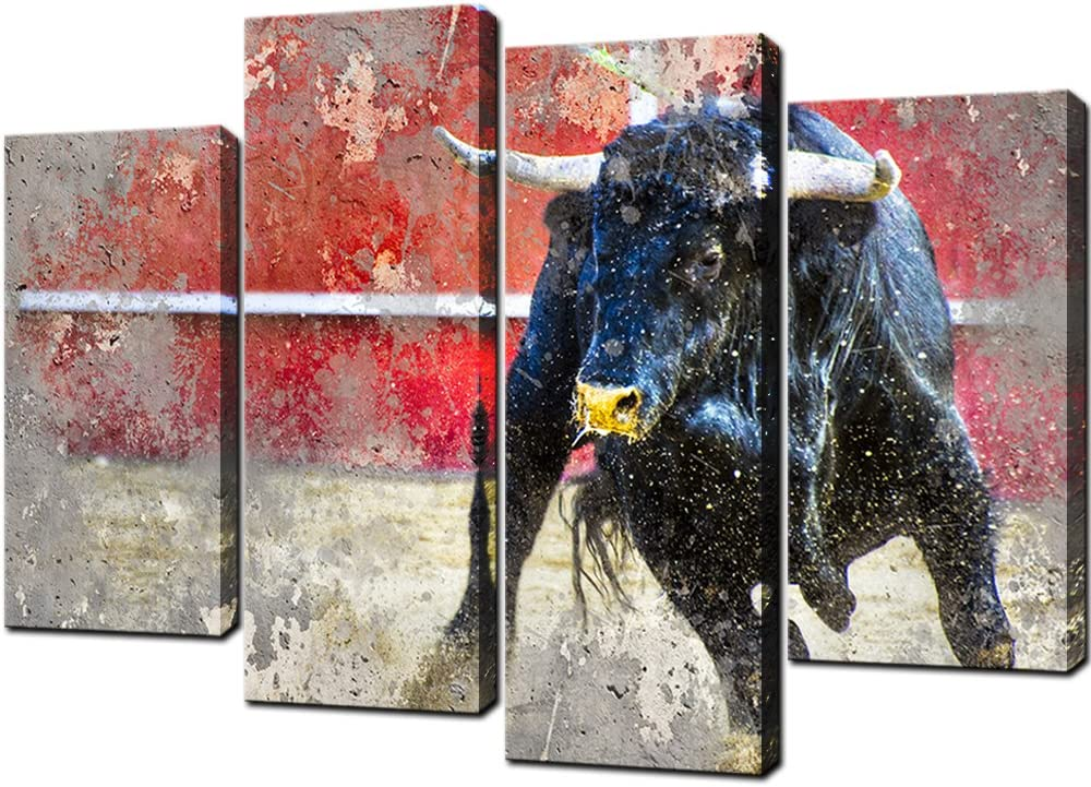 KLVOS 4 Piece Spanish Fighting Bull Animal Wall Art Highland Cow Picture Painting Wildlife Canvas Artwork for West Cowboy Bedroom Nordic Style Modern Home Decor Stretched Ready to Hang W-48x H-32inch