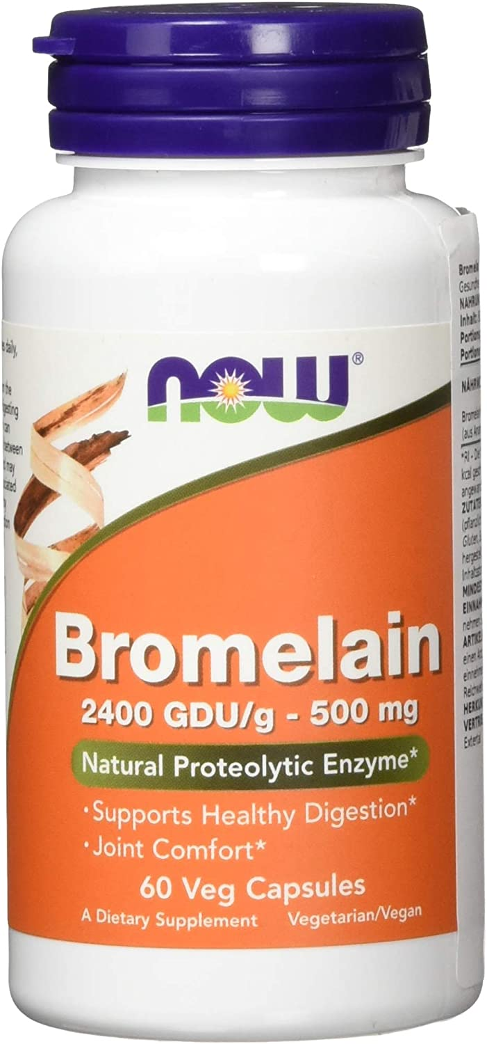 NOW Supplements, Bromelain (Natural Proteolytic Enzyme) with 2400 GDU, 500mg, 60 Veg Capsules: Health & Personal Care