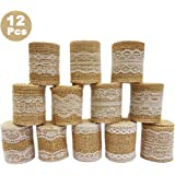 WooWell 12 rouleaux rouleau de ruban de toile de jute de dentelle Blanche naturel (1M /rouleaux), Fait de ruban de jute naturel et de dentelle de soie blanche.a décoration et les emballages-cadeaux.