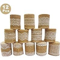 12 piezas Rollo de cinta de artesanía de arpillera de Encaje Blanco natural (1M /