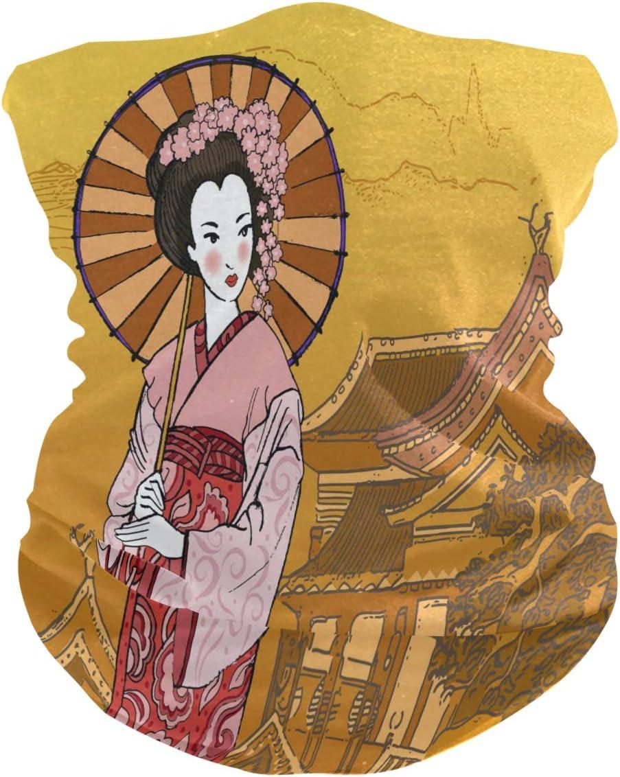 Alarge - Pañuelo para la cabeza, suave, estilo retro, japonés, geisha, kimono transpirable, bandana para la cara, polvo, máscara de protección solar, polainas, pasamontañas para niños y niñas