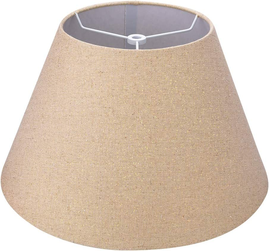 Medium Lamp Shade,Alucset Barrel Fabric Lampshade for Table Lamp and Floor Light,7x13x7.8 inch,Natural Linen Hand Crafted,Spider (Brown Fabric and Gold Wire)