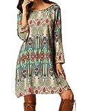 Women Bohemian Back V Neck Vintage Printed Ethnic Summer Shift Tunic Dress