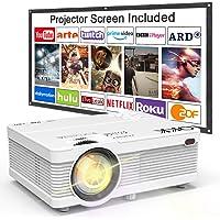QKK Beamer, AK-81 Mini Projektor mit Screen, 3800 Lumens Videoprojektor, Unterstützt 1080P Full HD, Kompatibel mit TV Stick, PS4, HDMI, VGA, SD, AV und USB, Heimkino Projektor, Weiß, MEHRWEG.