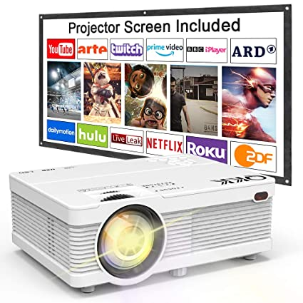 QKK Projector, AK-81 Mini Projector with Projection Screen, 3800 Lumen  Video Projector Supports 1080P Full HD, Compatible with TV Stick, PS4,  HDMI,