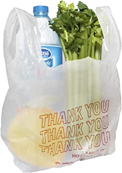 """Lot of 100 16/""""x8/"""" bag size 10/""""x8/"""" t shirt carry-out bags merchandise bags"""