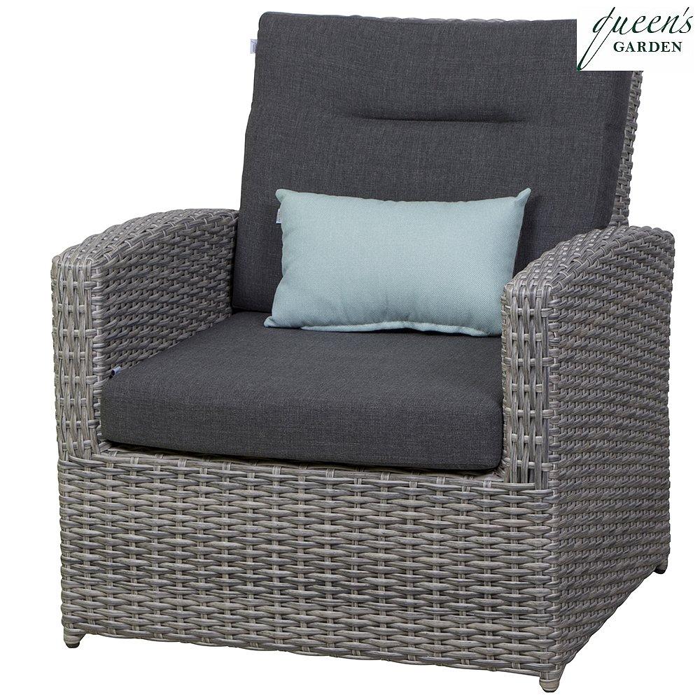 Queen´s Garden 359925 Comodo Lounge Sessel Aluminium hellgrau 100% Elastolifen grau, inkl. Dekokissen 45x30