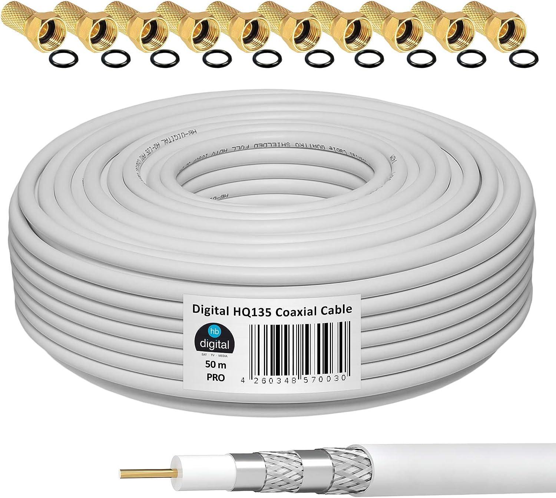 HB-DIGITAL 50m Cable Coaxial HQ-135 Cable de Antena 135dB Cable SAT 8K 4K UHD 4 Veces Apantallado Para Sistemas DVB-S / S2 DVB-C / C2 DVB-T / T2 DAB+ ...