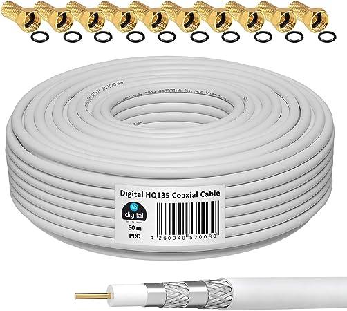 HB-DIGITAL 50m 135dB Cable coaxial SAT HQ-135 PRO 4 veces apantallado para sistemas DVB-S / S2 DVB-C y DVB-T BK + 10 juegos de enchufes F dorados Gratis