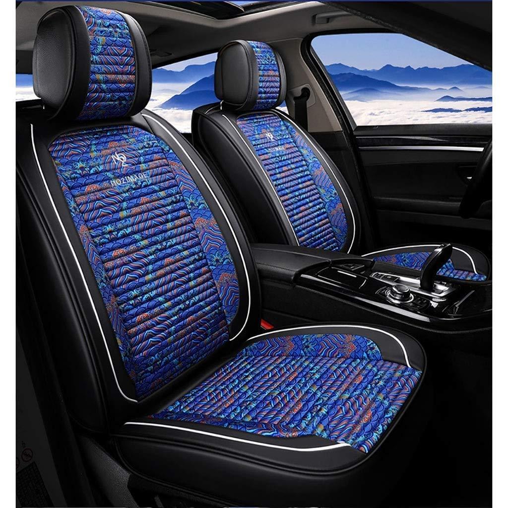 カーシートカバーセット、ユニバーサルカーシートクッションフロントリア5シートコンプリートセットファブリックレザーシーズンパッド対応エアバッグシートプロテクター(カラー:ブルー)  Blue B07SZBLPMP