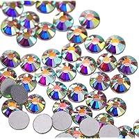 Jollin Glue Fix Flatback Rhinestones Glass Diamantes Gems For Nail Art Crafts Decorations Clothes Shoes 4.8mm (SS20 1440pcs, Crystal AB)