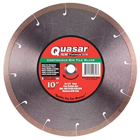 Quasar tile kut platinum wet 10 inch continuous rim tile diamond quasar tile kut platinum wet 10 inch continuous rim tile diamond blade fits 5 greentooth