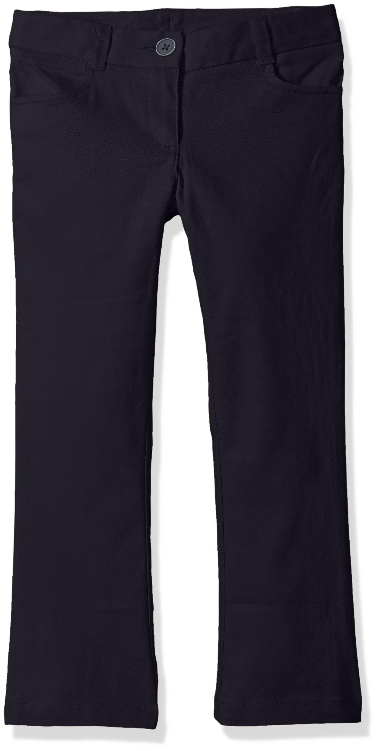 Nautica Little Girls' Uniform Bootcut Twill Pant, Navy, 6X