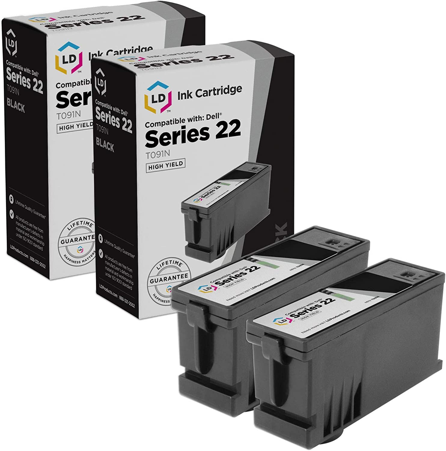 LD Products Compatible Ink Cartridge Replacement for Dell T091N Series 22 High Yield (Black, 2-Pack)
