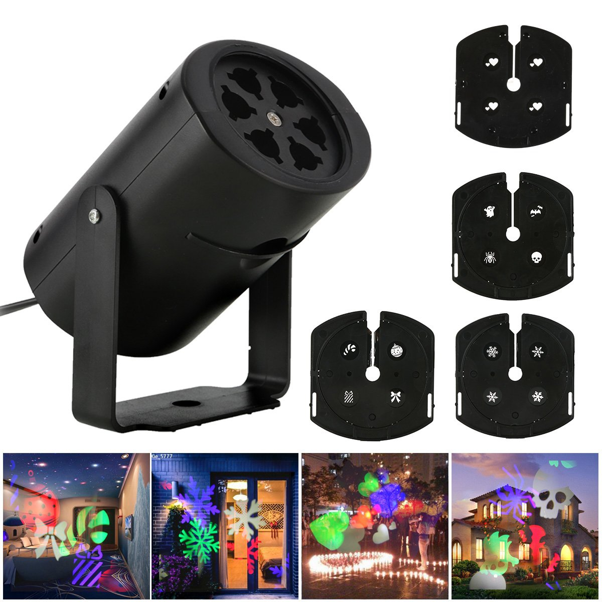 Minuano Christmas Led Projector Lights,Outdoor Christmas Projection,nnooLight 4 Pattern,Landscape Garden LED Lights for Various Themes Halloween, Christmas, etc.