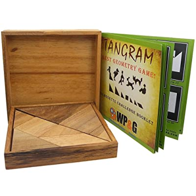 Tangram Wooden Puzzle Geometry Game, with 48 Silhouette Tangrams Challenge Booklet: Toys & Games [5Bkhe0503379]
