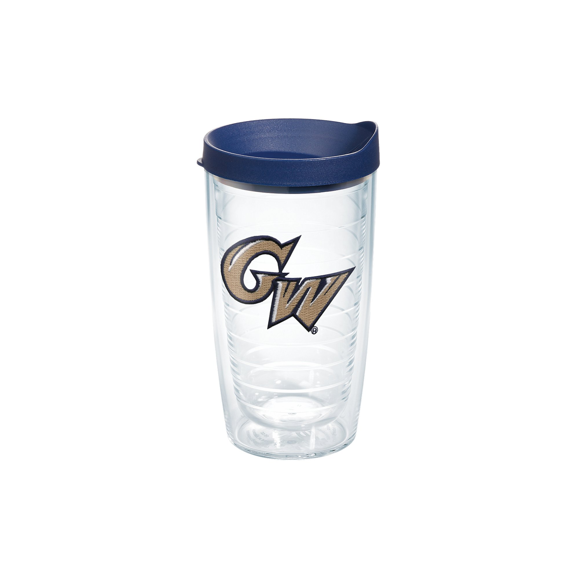 Tervis 1083497 George Washington Colonials Logo Tumbler with Emblem and Navy Lid 16oz, Clear