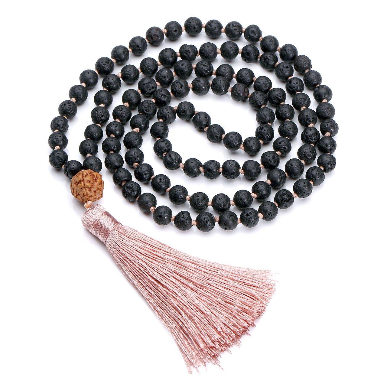 Top Plaza 6mm Natural Lava Rock Stone Healing Gemstone 108 Buddhist Prayer Beads Tibetan Mala Bracelet Necklace with Rudraksha Long Tassel Charm(Nude Pink)