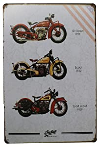 3 Series of Indian Motorcycles Poster, Metal Tin Sign, Vintage Plaque Garage Home Wall Decor