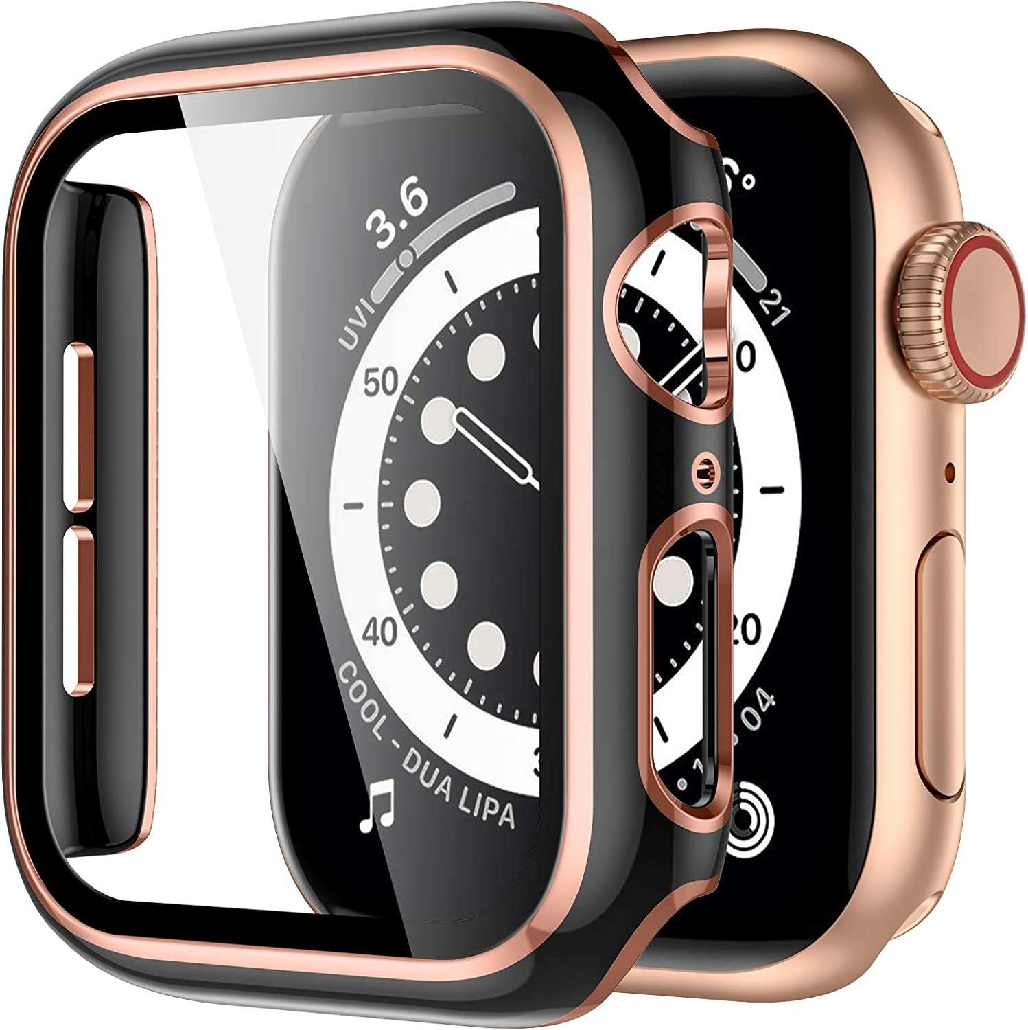 GEAK Hard Case Compatible for Apple Watch 40mm Built-in Screen Protector, Full Coverage Hard PC Cover with Rose Gold Edge Screen Protector for Women Men iWatch 40mm Series 6/5/4/se Black/Rose Gold