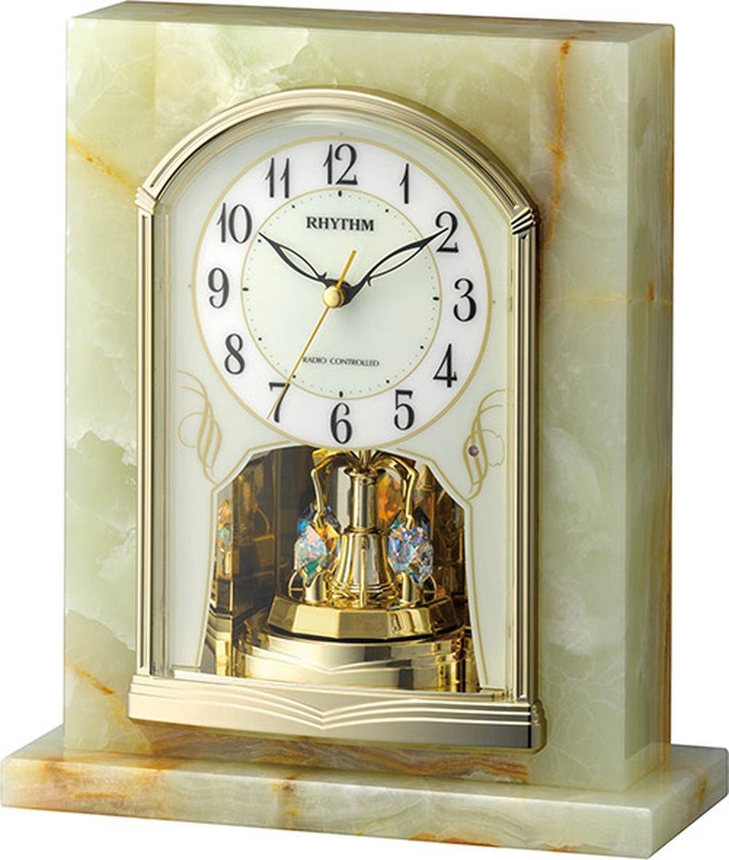 リズム時計 置き時計 電波 アナログ パルグロリアR710 クリスタル 飾り 石 (オニックス枠) 緑 RHYTHM 4RY710SR05 B01DNT6ACG