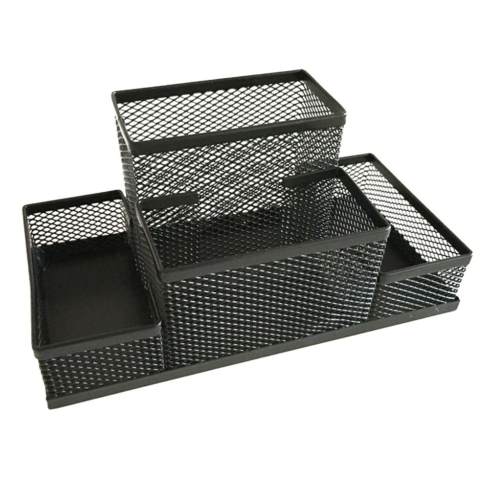 VORCOOL Metal Mesh Table Organizer Desktop Container Pen Holder Storage Case Office Supplies with Compartment (Black)