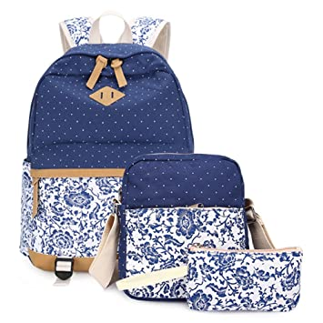 Mujer Mochilas Escolares Para Chicas Lona Casual Bolsa Escolar Niña Ordenadores Portátiles de 14 Pulgadas Mochila+Bolso de bandolera+Caja de lápices Azul ...
