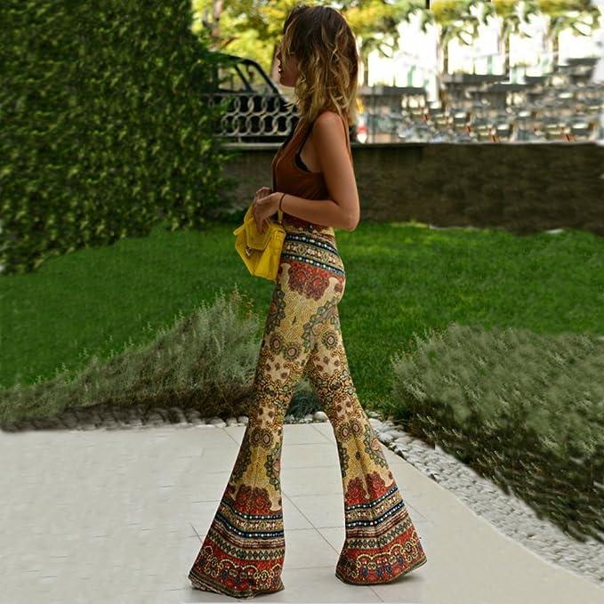 Amazon.com: bozevon mujeres Vintage impreso medio cintura ...