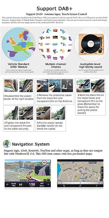Iauch 7 Inch Doble 2 DIN coche GPS reproductor de DVD GPS navegación Multimedia Radio FM Sistema Sat Nav cabeza unidad para Ford Transit y Focus, C-MAX, ...