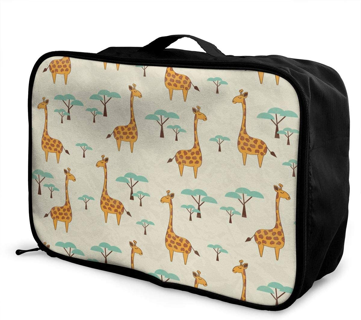 Cute Animal Giraffe Travel Carry-on Luggage Weekender Bag Overnight Tote Flight Duffel In Trolley Handle