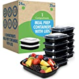 [25 Set] 24oz. Meal Prep Containers with Lids Ideal-Lunch Containers, Food Prep Containers, Food Storage Bento Box, Portion C