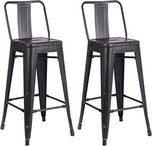 """4 Pieces 30/"""" Metal Bar Stools Vintage Distressed Design Counter Barstool Chairs"""
