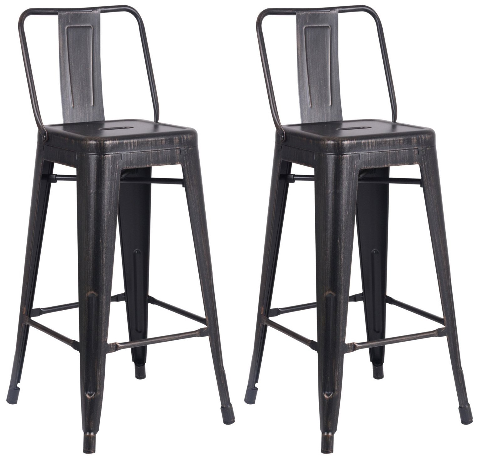 AC Pacific Modern Light Weight Industrial Metal Bucket Back Barstool, 30'' Seat Height Counter Stool (Set of 2), Distressed Black Finish by AC Pacific