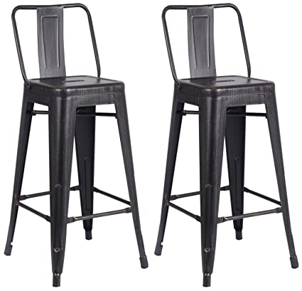 AC Pacific Modern Light Weight Industrial Metal Bucket Back Barstool,  30u0026quot; Seat Height Counter