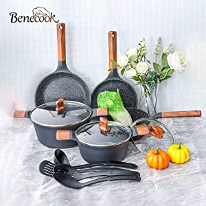 Benecook Professional Speckle Nonstick Cookware Dishwasher Safe Pots and Pans Set
