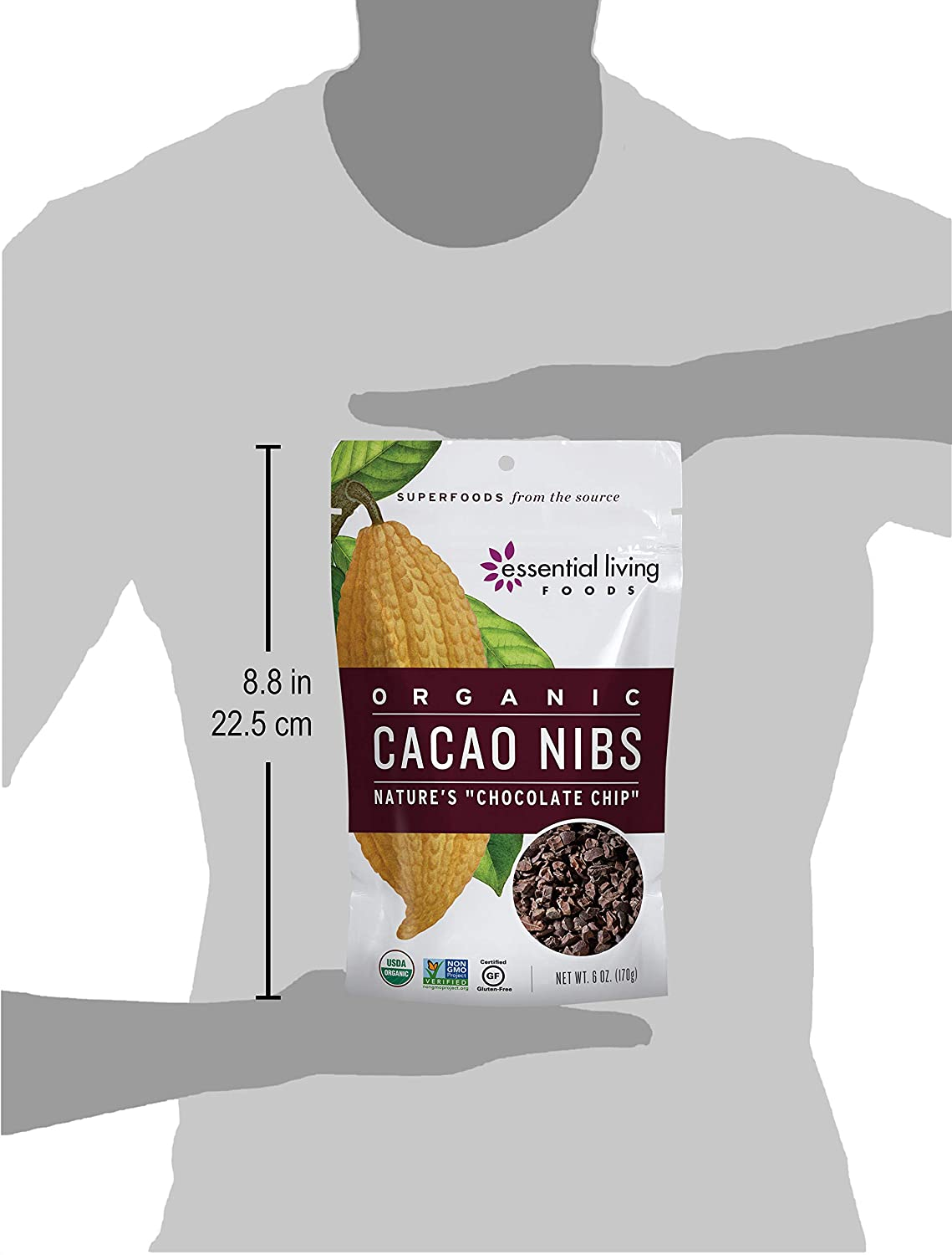 Essential Living Foods Organic Cacao Nibs, Healthy Natural Unsweetened Chocolate Chips for Trail Mixes, Vegan, Superfood Protein Nutrients, Non-GMO, ...