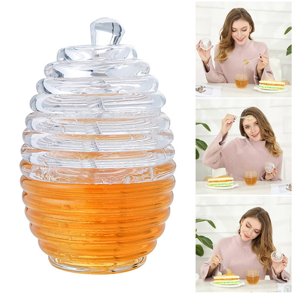 cheerfulus Beehive Style Glass Honey Jar Transparent Honey Pot Container Cup with Stir Bar - 265ML,9 oz