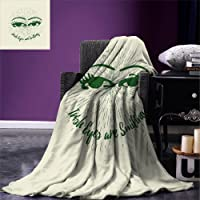 smallbeefly Eyelash Throw Blanket Hand Drawn Abstract Eye Pattern with Lined Background and Irish Quote Design Warm Microfiber All Season Blanket for Bed or Couch Emerald Cream