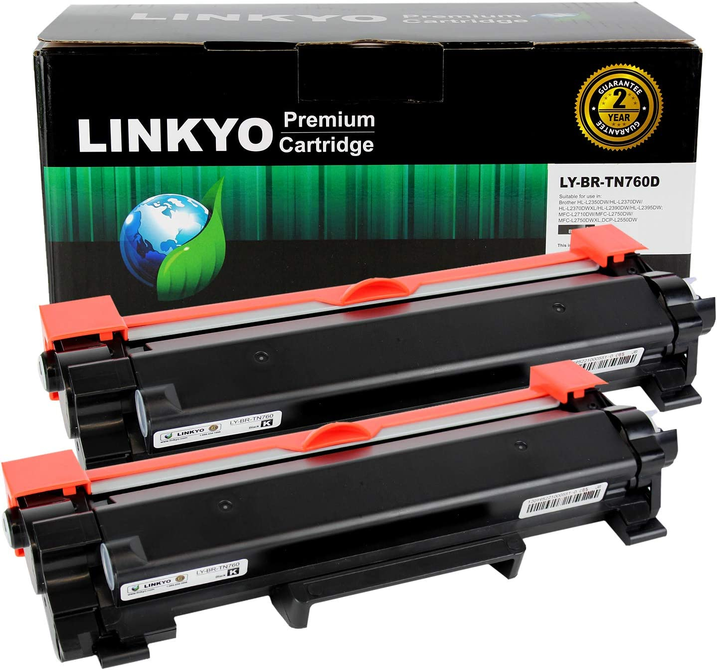 LINKYO Compatible Toner Cartridge Replacement for Brother TN760 TN-760 TN730 (Black, High Yield, 2-Pack): Office Products
