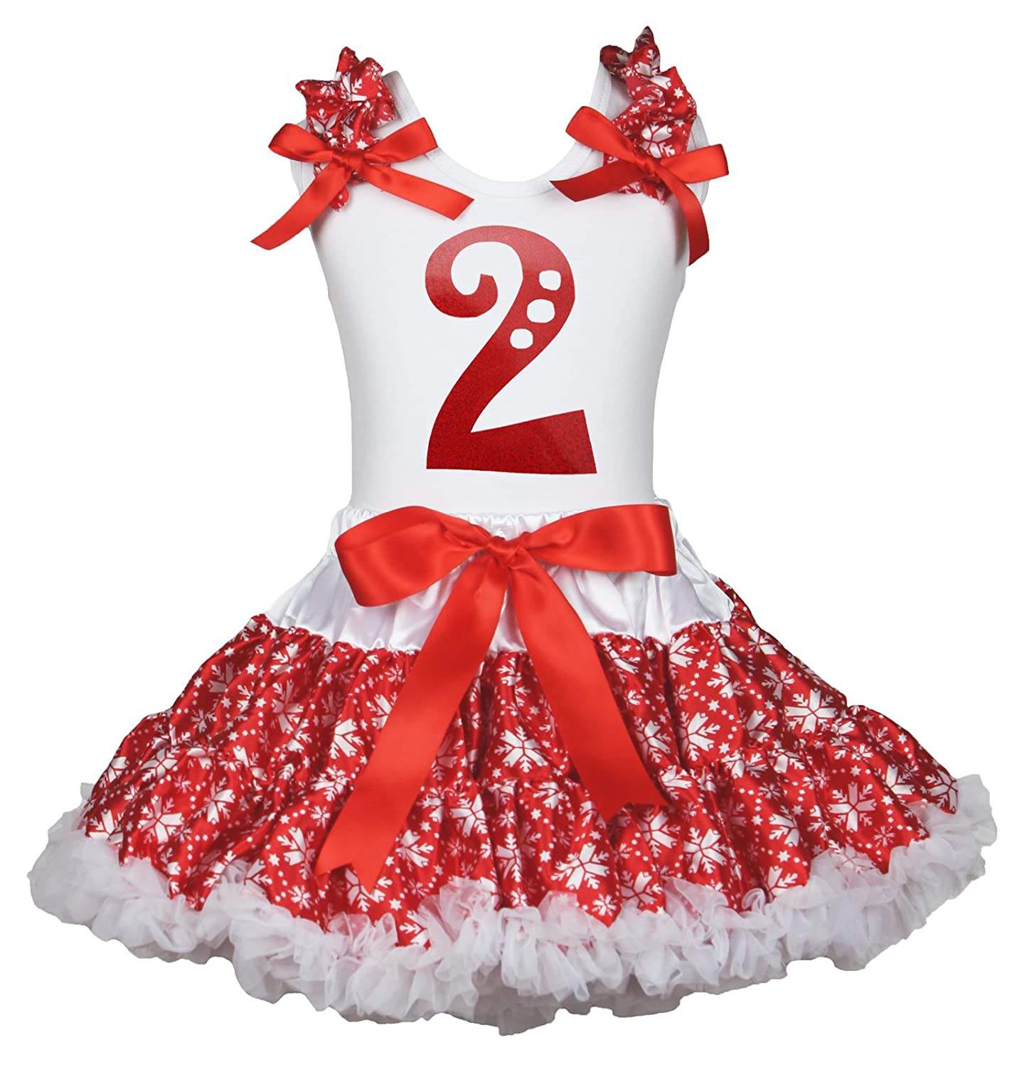 Christmas Dress 2nd Paint White Cotton Shirt Red Snowflake Skirt Outfit Set 1-8y