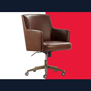 Tommy Hilfiger Belmont Upholstered Home Office Chair, Modern Round Silver or Bronze Architectural Base, 360-Degree Mobility, Faux Leather, Cognac Brown